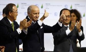 Left to right: Ban, Fabius, Hollande.