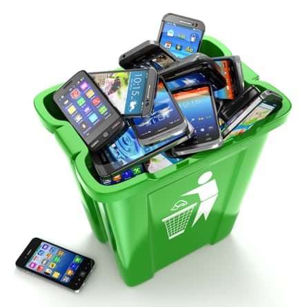 A bin of recycled smartphones