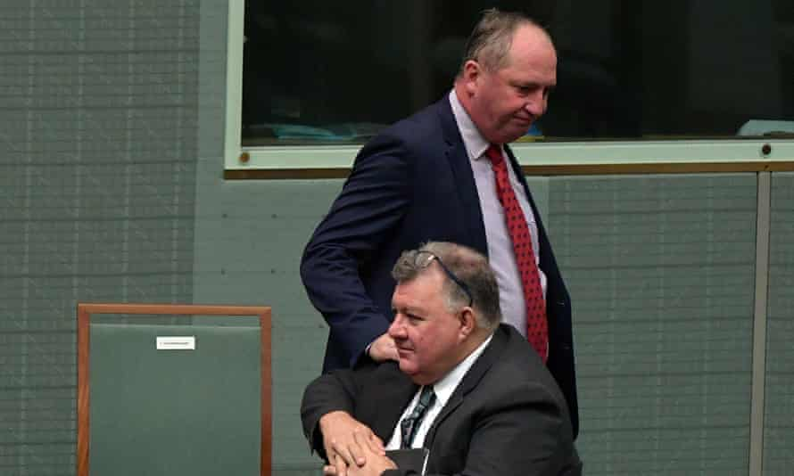 Craig Kelly and Barnaby Joyce in parliament in early February.