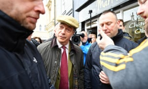 Nigel Farage in Workington, where he was campaigning fo the Brexit party this morning.