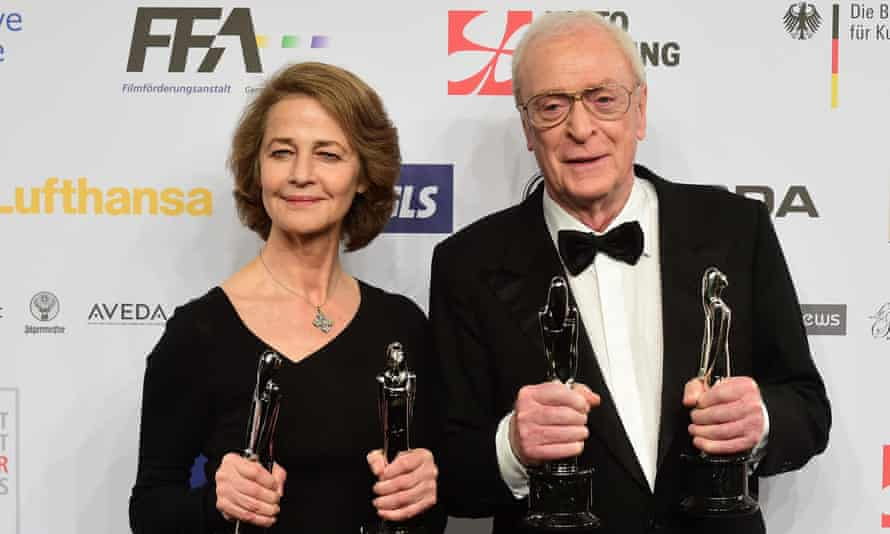 Charlotte Rampling and Michael Caine at the European Film Awards, December 2015.