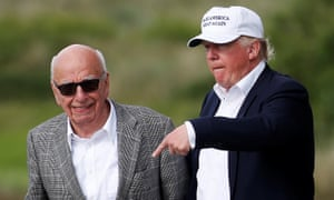 Republican presidential candidate Donald Trump speaks to media mogul Rupert Murdoch as they walk out of Trump International Golf Links in Aberdeen. Rupert Murdoch and his conservative media outlets like the WSJ are among the worst influences on perceptions of climate change.