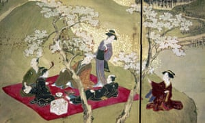 Simple pleasures: detail from a screen painting of a picnic party in cherry blossom time, early 17th century, by Hishikawa Masanobu.