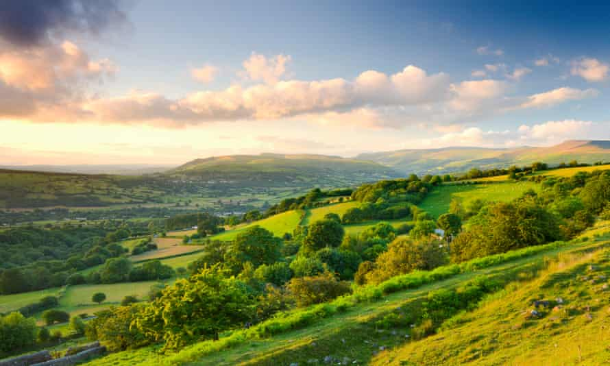 The Usk valley near Llangynidr at sunset.
