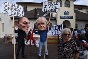 Protesters dressed as Tony Abbott and Malcolm Turnbull