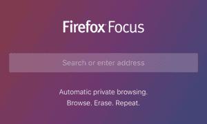 Firefox Focus' homescreen