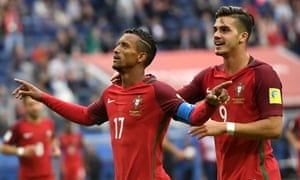 Nani celebrates with André Silva after his late finish sealed a 4-0 win for Portugal.