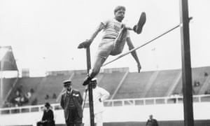 Ray Ewry leaping over the high jump, 1908.