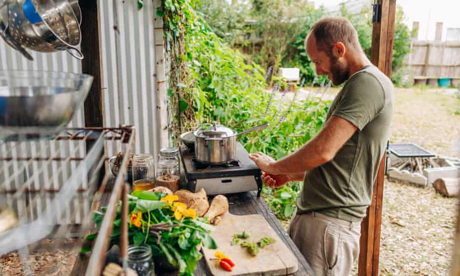 Rob Greenfield in his outdoor kitchen