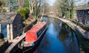 Narrowboat on the Huddersfield Canal,