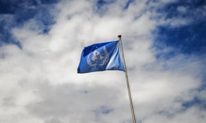 SWITZERLAND-YEMEN-CONFLICT-PEACE-UN<br>A flag of the United Nations (UN)waves atop a flagpole on June 16, 2015 at the UN offices at Geneva. Iran-backed Yemeni rebels accused Saudi Arabia of trying to sabotage UN peace talks in Geneva and ruled out negotiations with the exiled government saying it lacked legitimacy.     AFP PHOTO / FABRICE COFFRINI        (Photo credit should read FABRICE COFFRINI/AFP/Getty Images)