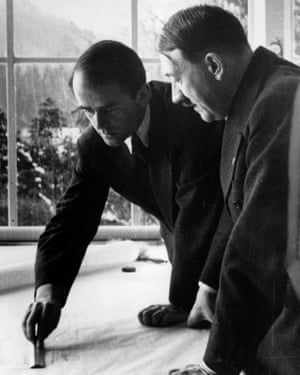 Albert Speer showing German dictator Adolf Hitler his plans for Germania.