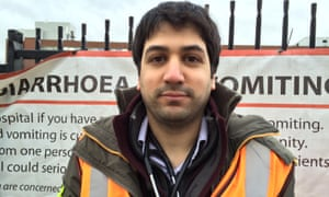 Andy, a junior doctor outside St George's hospital in Tooting