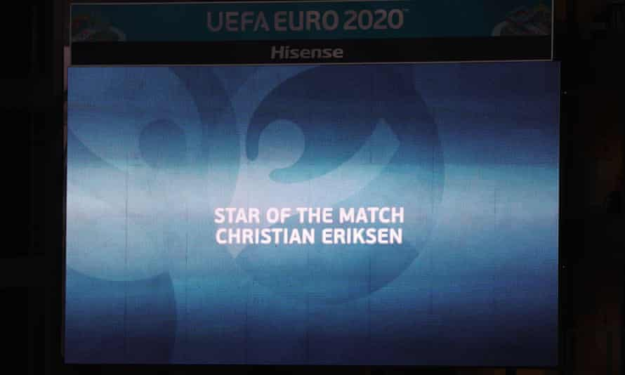 The big screen at Parken names Christian Eriksen as the player of the match