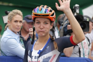 Lizzie Armitstead of Great Britain blows her cheeks as she finishes fifth in the women's cycling road race.
