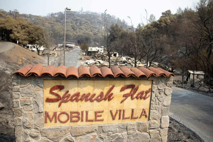 The entrace to the Spanish Flat Mobile Villa mobile home park near Lake Berryessa, California.