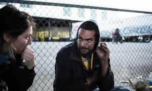 Leilani Farha and Eric Hoch speaking under a freeway in San Francisco.