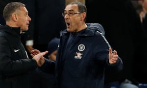 Maurizio Sarri faced calls for him to be replaced by Frank Lampard during Chelsea's FA Cup defeat by Manchester United at Stamford Bridge.