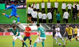 Clockwise from top left: Willian of Brazil; Germany coach Joachim Löw talks to his squad; Kevin De Bruyne of Belgium and Spain's Andrés Iniesta.