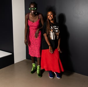 Atong Atem and Sarah Johnson at the National Gallery of Victoria's fashion exhibition Collecting Comme
