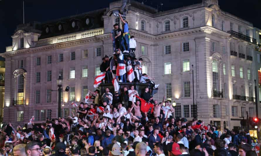 England celebrate in Picadilly Circus in London on Saturday night.