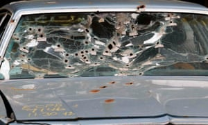 Timothy Russell's windshield was destroyed after the 137-shot barrage.