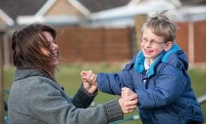 #ToyLikeMe co-founder Karen Newell with her son.