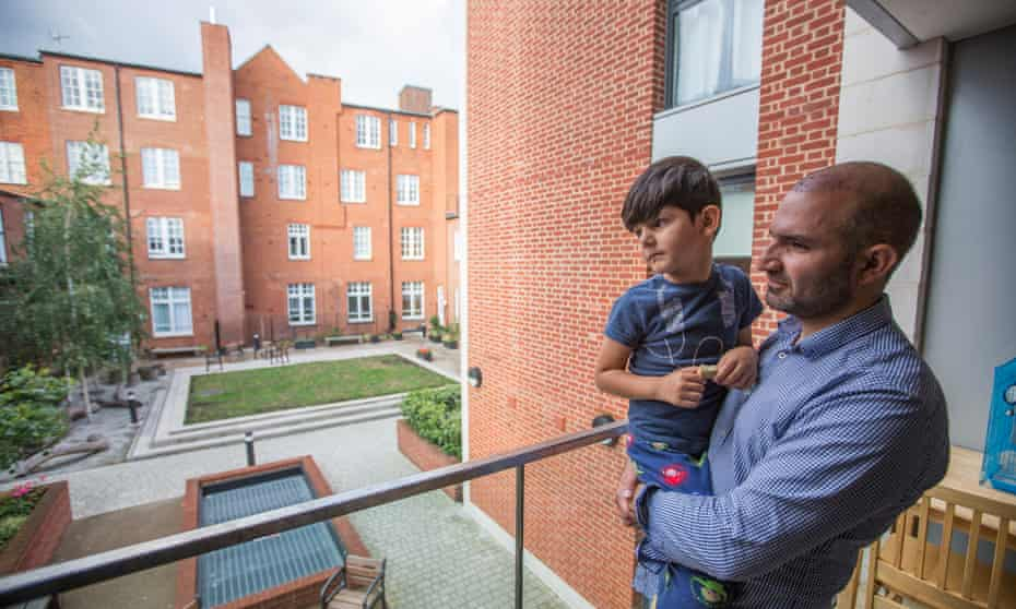 'He asks all the time if he can play football in the garden' ... Hamid Ali Jafari, a former Grenfell resident whose father died in the fire, with his five-year-old son.