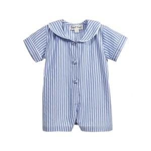 Blue stripe cotton short onesie