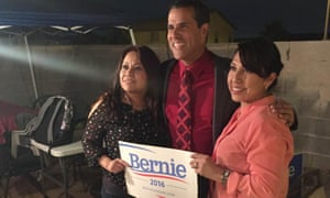 Jackie Ramos, left, and Mexican actor and broadcaster Marco Antonio Regil at a phone banking event in Nevada.