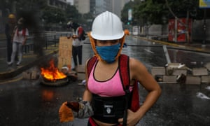 Opposition demonstrators protest against the newly formed constituent assembly in Caracas, Venezuela, on 4 August.