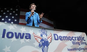 Elizabeth Warren speaks at the Wing Ding dinner in Clear Lake, Iowa, on 9 August.