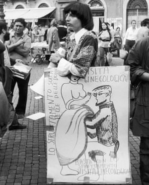 A woman with a poster