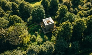 Houghton Festival venue aerial view of building in the trees.