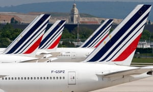 Air France aircraft grounded due to lockdown at Paris Charles de Gaulle airport. The French government has offered a €7bn loan bailout to the flag carrier.