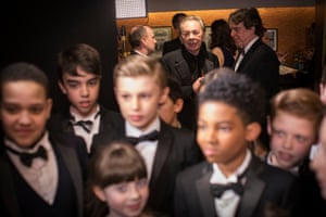 Andrew Lloyd Webber with the cast of  School of Rock the Musical