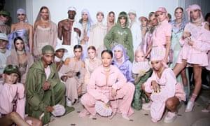 Cheers, we'll drink to that: FENTY x PUMA by Rihanna, backstage at Paris Fashion Week.