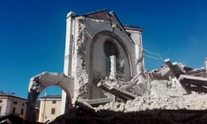 The Basilica of San Benedetto after the earthquake in Norcia.