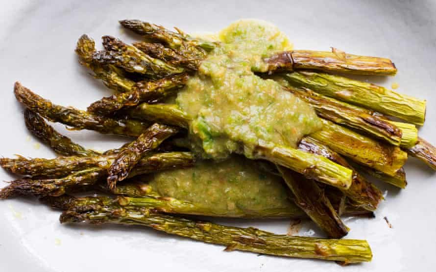 Sharper spears: roast asparagus, green chillies and lime.