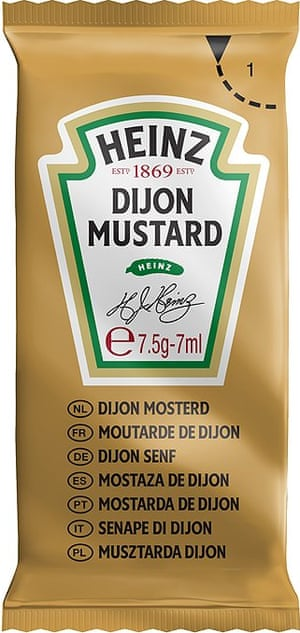 A single-serving packet of Dijon mustard