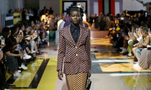 On the catwalk at the Prada show