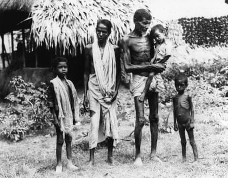 An emaciated family who arrived in Calcutta in search of food in November 1943.
