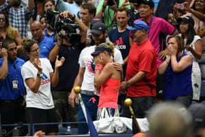 Angelique Kerber celebrates with friends and family after defeating Karolina Pliskova.