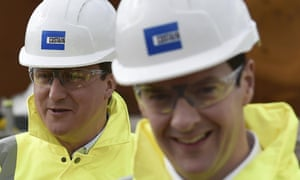 David Cameron (L) and George Osborne are all smiles as they tour the Heysham to M6 link road construction site near Morecambe in northern England.
