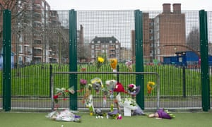 A floral tribute to 17-year-old knife victim Abdikarim Hassan on the Peckwater Estate in the London Borough of Camden
