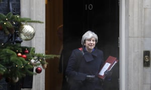 Theresa May, the prime minister, leaves 10 Downing Street to attend prime minister's questions in the Commons on Wednesday.
