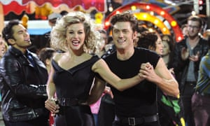 Julianne Hough and Aaron Tveit in the dress rehearsals for Grease: Live.