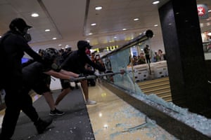The Admiralty mass transit railway (MTR) station is smashed