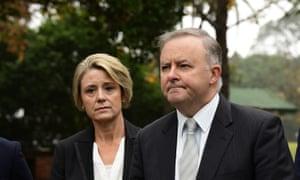 Kristina Keneally and Anthony Albanese speak to the media