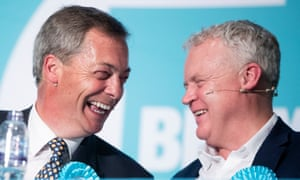 The Brexit party leader, Nigel Farage, and Mike Greene, the party's parliamentary candidate for Peterborough
